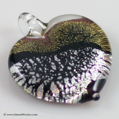 Gold and Silver Foil heart-shaped pendant