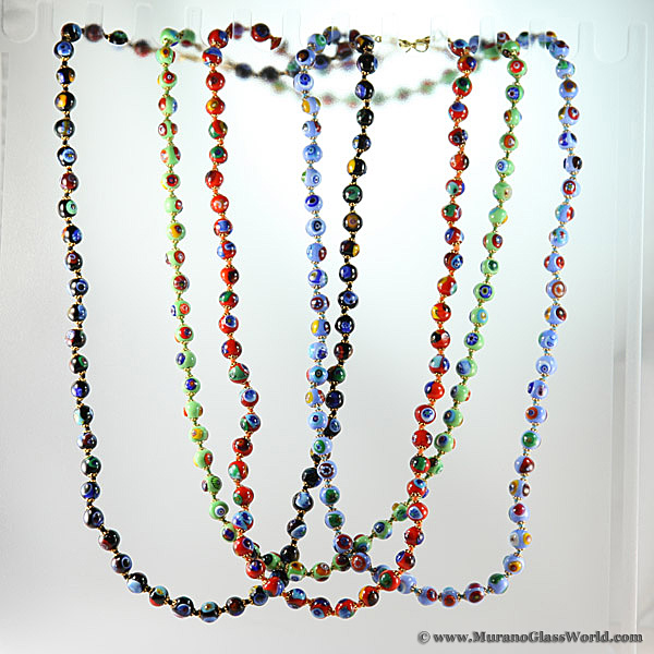 Murano Mosaic Long Necklace - 24 in