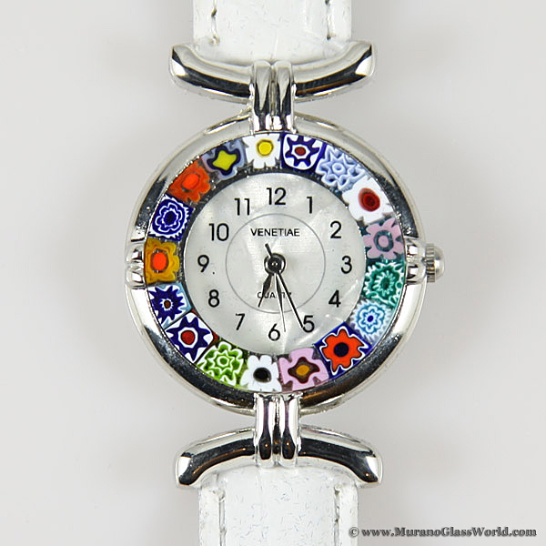 Murano millefiori watch with leather band