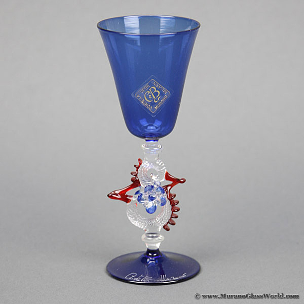 Murano Glass Museum Goblet - Small Blue and Cristallo