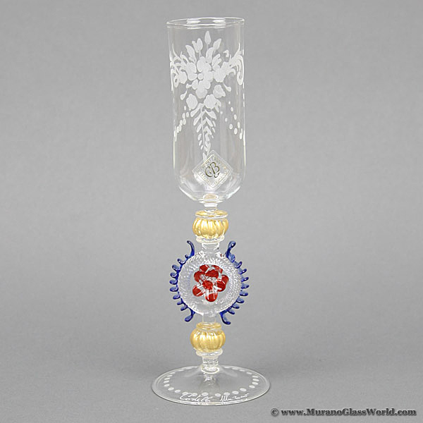 Murano Glass Museum Goblet - Engraved Champagne Flute