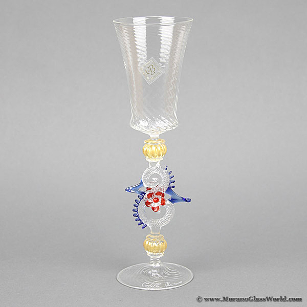 Murano Glass Museum Goblet - Blue and Red