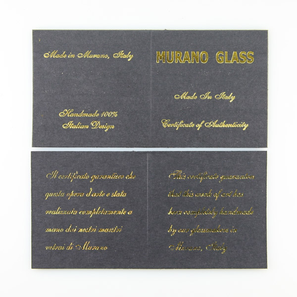 Murano Glass Certificate of Authenticity