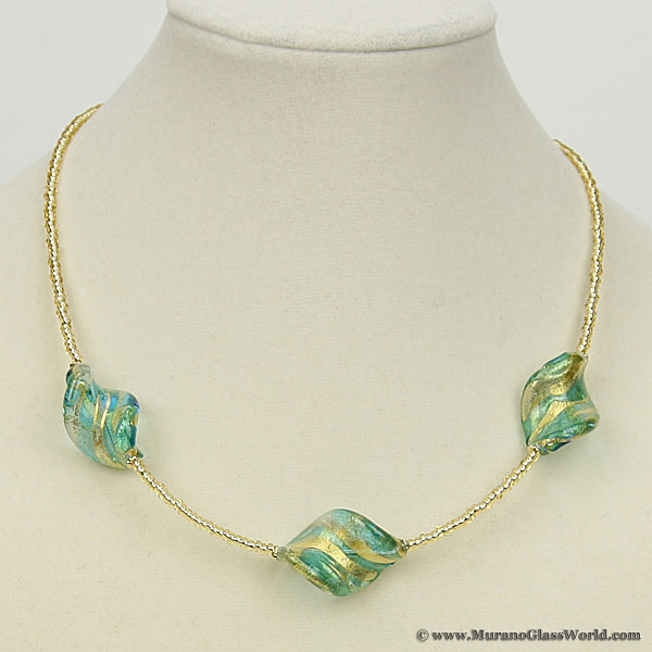Royal Aqua Spirals necklace