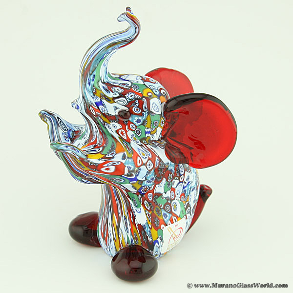Murano Art Glass Millefiori Elephant Sculpture