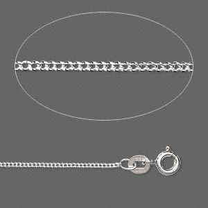 Sterling silver round cable chain, 1.2mm links - 18 inches