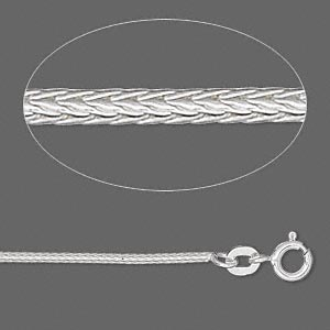 Sterling silver round foxtail chain, 1.3mm links - 16 inches