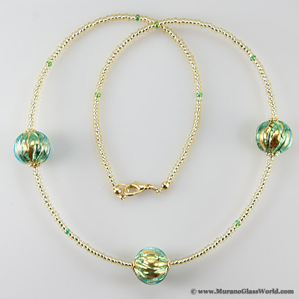 Royal Aqua Balls necklace