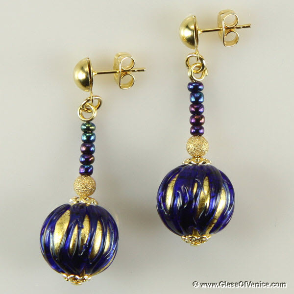 Canaletto Earrings - Gold Navy Blue
