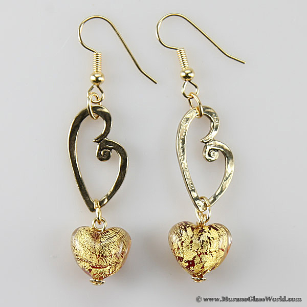 Ca D'Oro Venetian Heart earrings - red