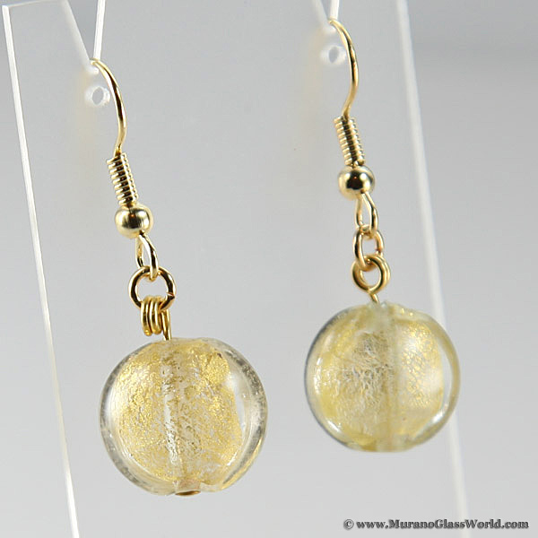 Golden Glow earrings- disk-shaped gold