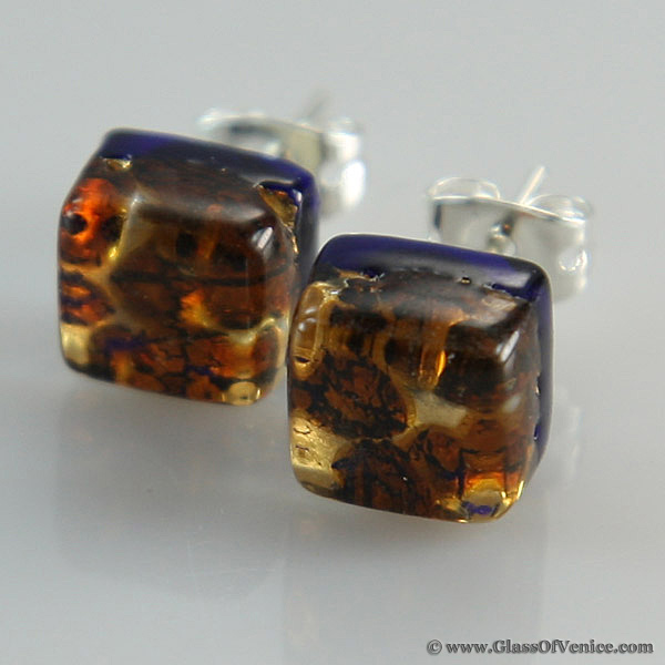 Venetian Reflections Square stud earrings
