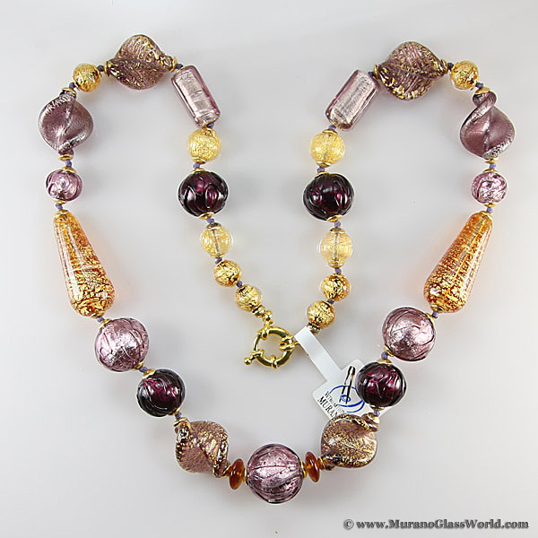 Necklace Murano Splendor - Amethyst and Gold