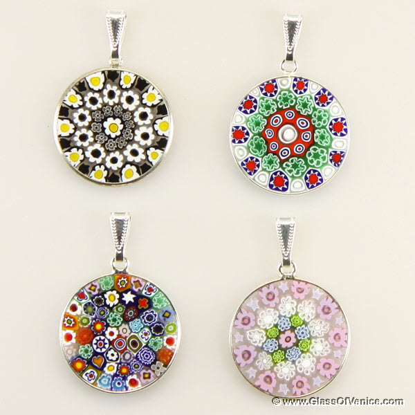 Medium Millefiori pendant in silver frame 23mm