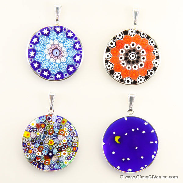 Large Millefiori pendant in silver frame 32mm