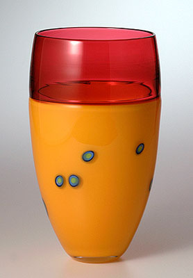 INCALMO - By Joel O'Dorisio Blown glass incalmo vase with murrini design. Yellow body with ruby red top.