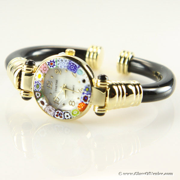Murano millefiori bangle watch