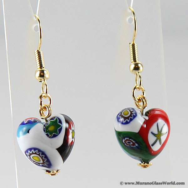 Millefiori Heart earrings