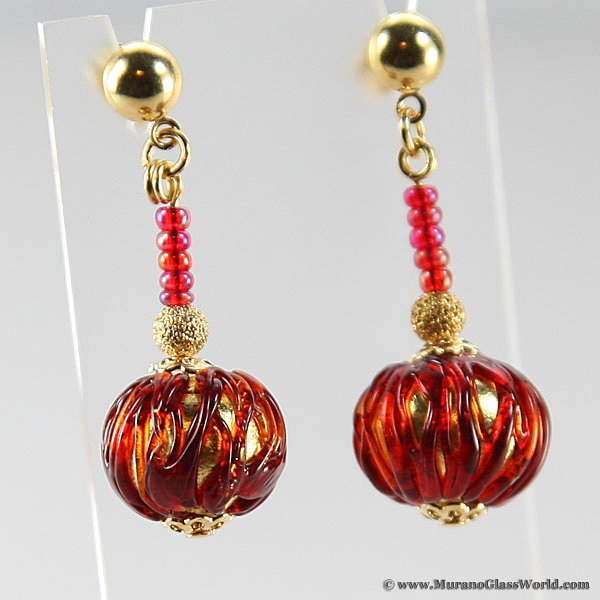 Canaletto Earrings - Gold Ruby Red