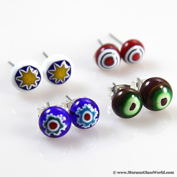 Murano Millefiori Small Stud Earrings