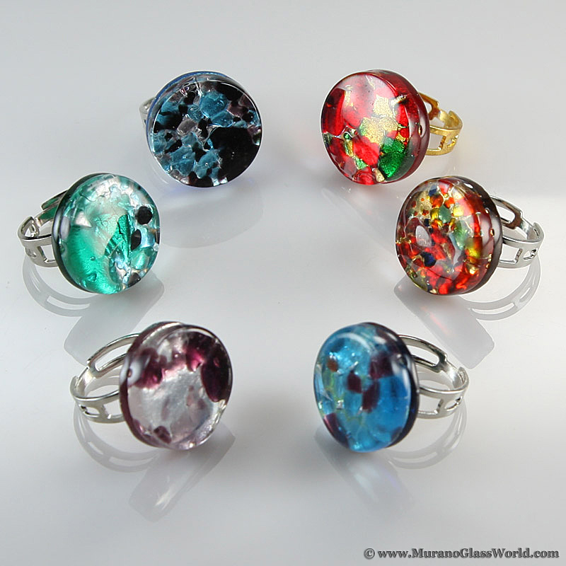 Venetian Reflections Ring - Round with adjustable band