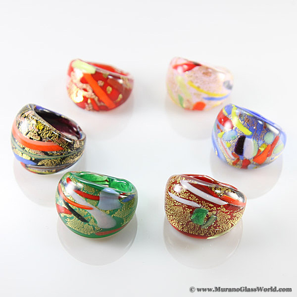 Murano glass ring-glass rings-Big ringS-Unique ring Lampwork ring-dotted glas ring-glasringe-Anello vetro-Bague en verre-