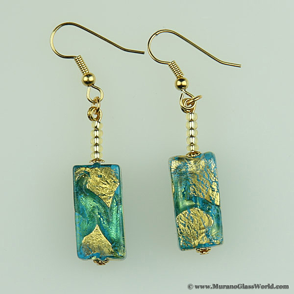 Royal Aquamarine Block earrings