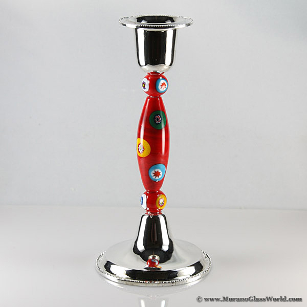 Red Mosaic Murano Glass Candle Holder