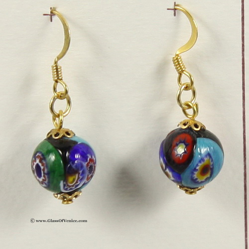 Millefiori Ball Earrings
