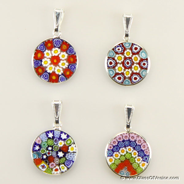 Small Millefiori pendant in silver frame 18mm