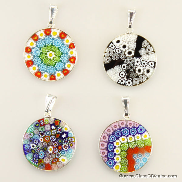 Medium Millefiori pendant in silver frame 26mm