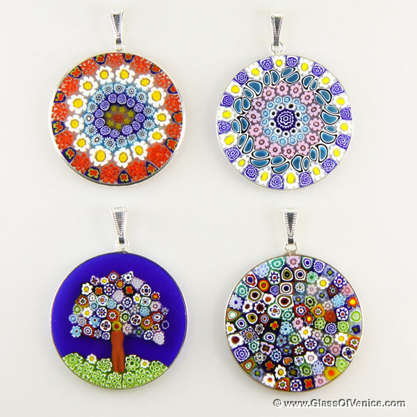 Large Millefiori pendant in silver frame 36mm